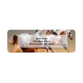 two white horses running return address label