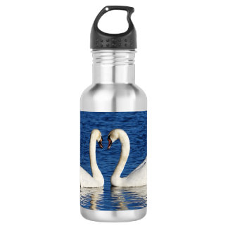 Two White Swans Form Heart Sign 532 Ml Water Bottle