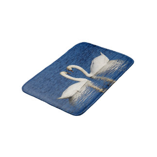 Two White Swans Form Heart Sign Bath Mat