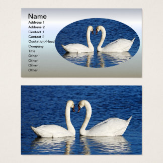 Two White Swans Form Heart Sign Business Card