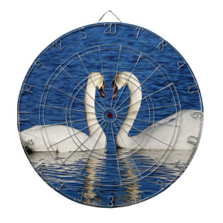 Two White Swans Form Heart Sign Dartboard
