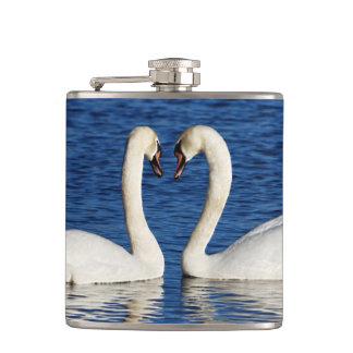Two White Swans Form Heart Sign Hip Flask