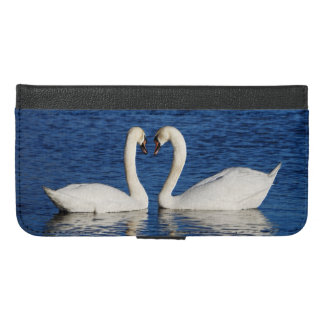 Two White Swans Form Heart Sign iPhone 6/6s Plus Wallet Case