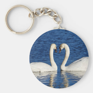 Two White Swans Form Heart Sign Keychain