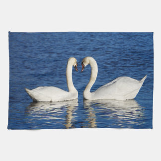 Two White Swans Form Heart Sign Kitchen Towel