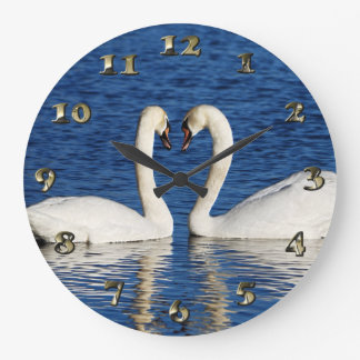 Two White Swans Form Heart Sign Large Clock
