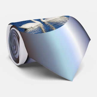 Two White Swans Form Heart Sign Tie