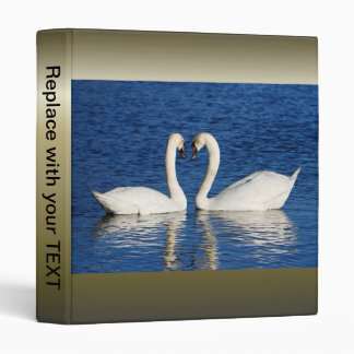 Two White Swans Form Heart Sign Vinyl Binder