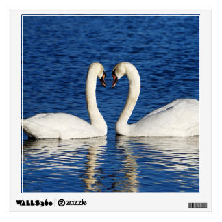 Two White Swans Form Heart Sign Wall Decal