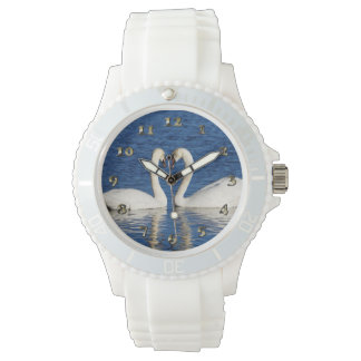 Two White Swans Form Heart Sign Watch