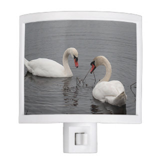 Two white swans night light
