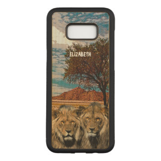 Two Wild Lions On African Savannah Background Carved Samsung Galaxy S8+ Case