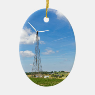 Two windmills in rural area with blue sky ceramic ornament