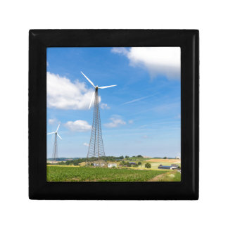 Two windmills in rural area with blue sky jewelry box