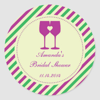 Two Wine Glasses Favor Sticker