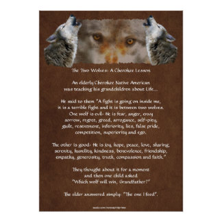 TWO WOLVES CHEROKEE STORY Wolf Poster