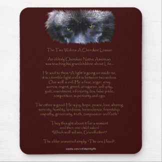 TWO WOLVES CHEROKEE TALE Art Mousepad Mouse Pads