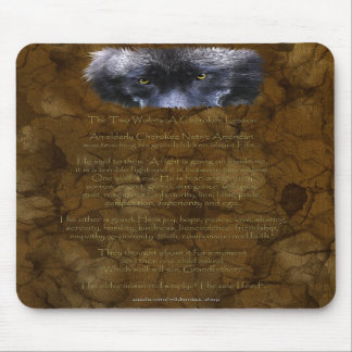 TWO WOLVES CHEROKEE TALE Native American Mousepad