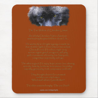 TWO WOLVES CHEROKEE TALE Native American Mouse Pad