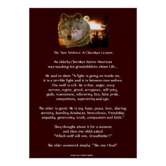 TWO WOLVES CHEROKEE TALE Wolf Art Poster