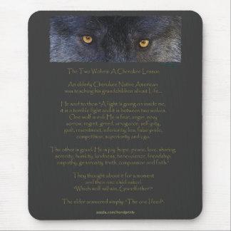 Two Wolves Cherokee Wisdom Tale Mousepad