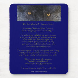 Two Wolves Cherokee Wisdom Tale Native American Mouse Pad