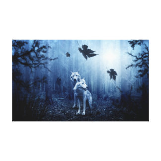 Two Wolves in a Dark Forest Canvas Print