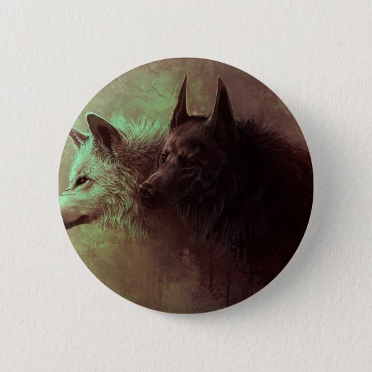 two wolves - painting wolf 2 inch round button