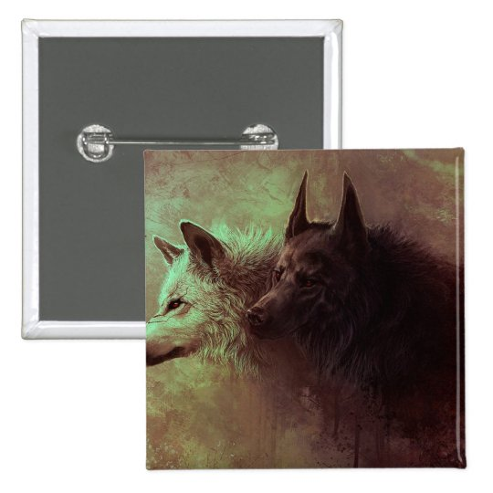 two wolves - painting wolf 2 inch square button