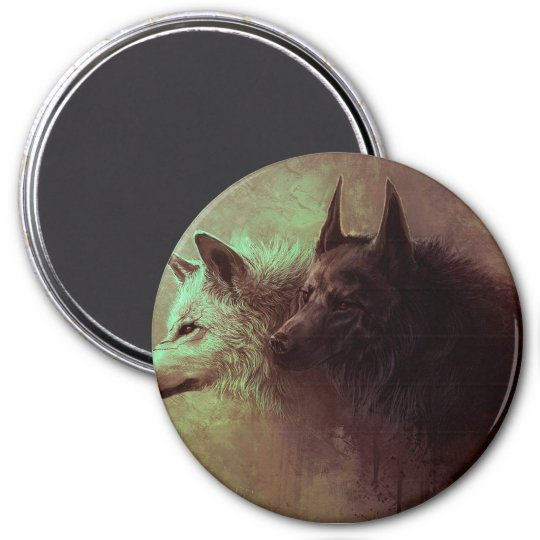 two wolves - painting wolf 3 inch round magnet