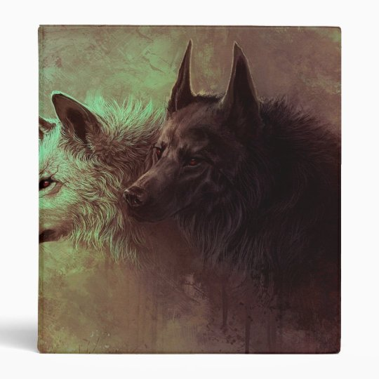 two wolves - painting wolf 3 ring binder