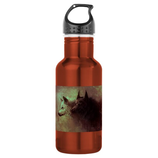 two wolves - painting wolf 532 ml water bottle