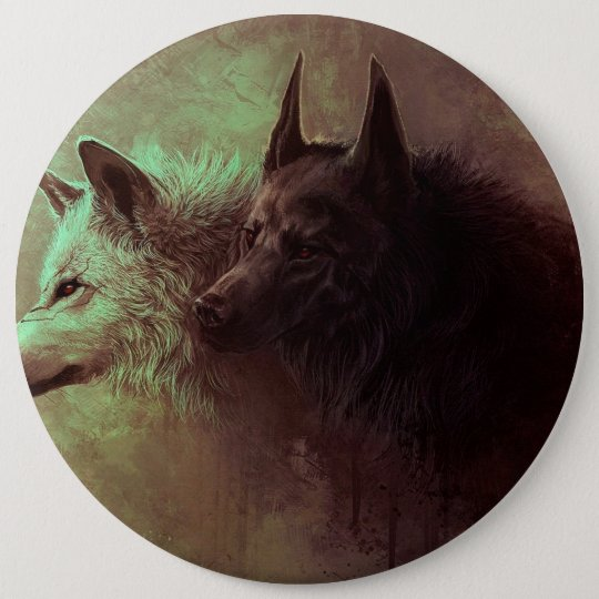 two wolves - painting wolf 6 inch round button
