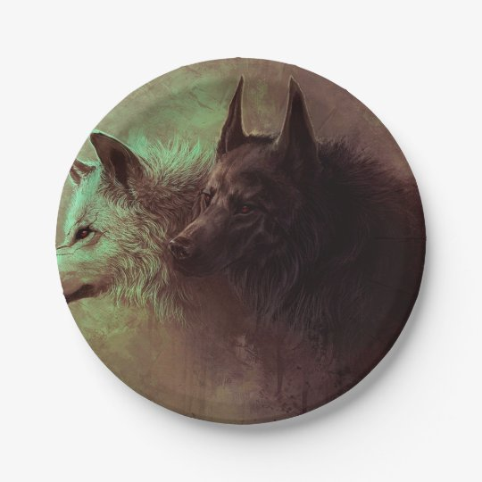 two wolves - painting wolf 7 inch paper plate