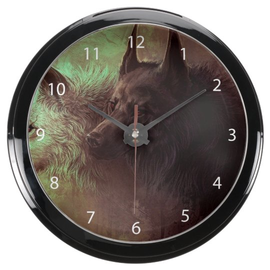 two wolves - painting wolf aqua clock