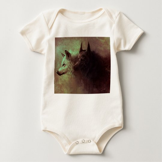 two wolves - painting wolf baby bodysuit