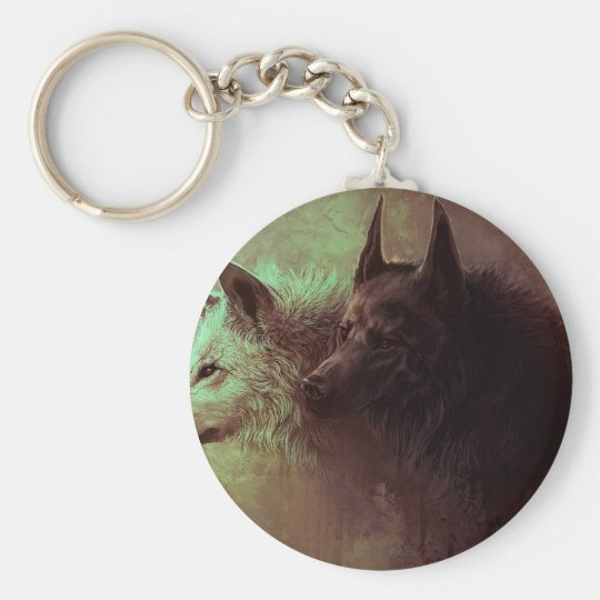 two wolves - painting wolf basic round button keychain