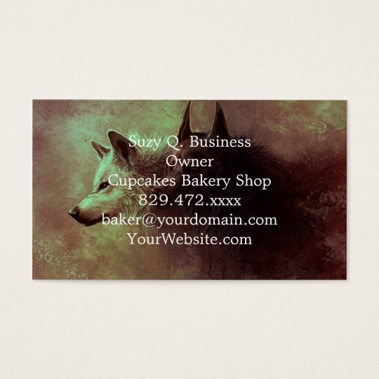 two wolves - painting wolf business card