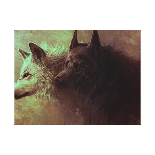 two wolves - painting wolf canvas print