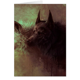 two wolves - painting wolf card