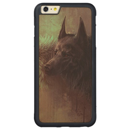 two wolves - painting wolf carved maple iPhone 6 plus bumper case