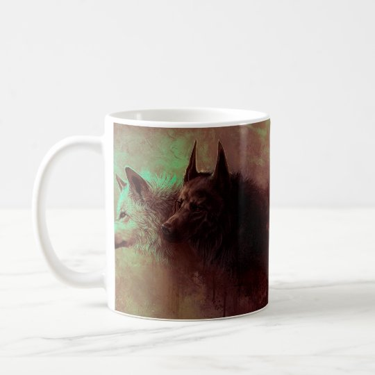 two wolves - painting wolf coffee mug