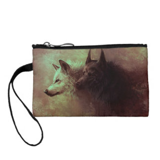 two wolves - painting wolf coin purse