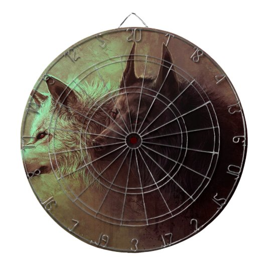 two wolves - painting wolf dartboard