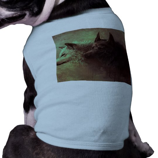 two wolves - painting wolf dog tee