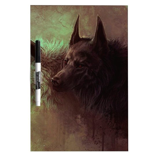 two wolves - painting wolf dry erase board