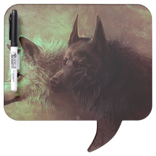 two wolves - painting wolf dry erase boards