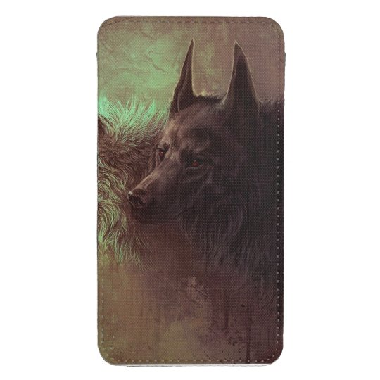 two wolves - painting wolf galaxy s4 pouch