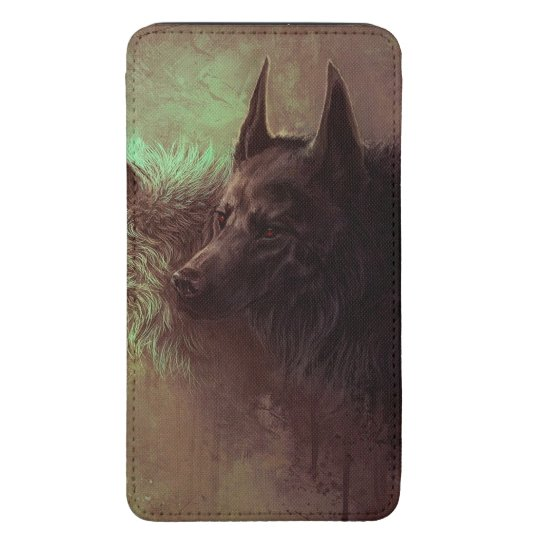 two wolves - painting wolf galaxy s5 pouch