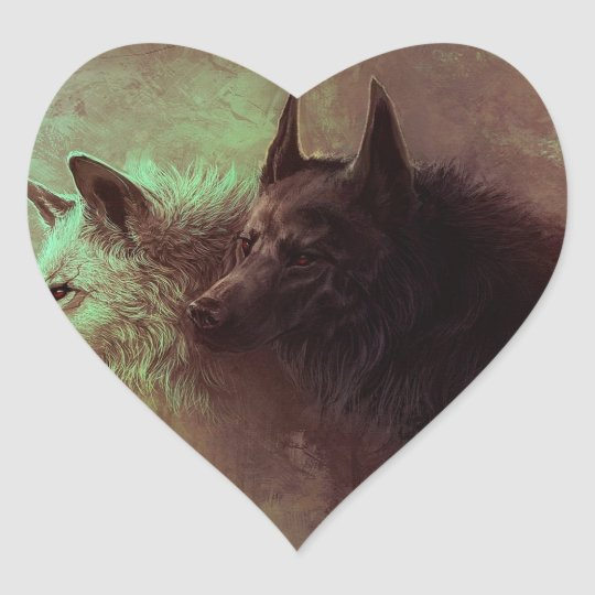 two wolves - painting wolf heart sticker
